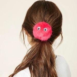 TOPSHOP Pom Pom Fur Googley Eye Hair Tie